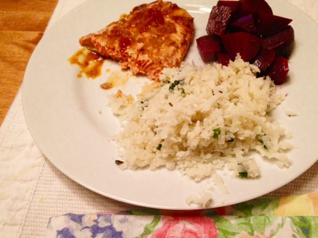 "With balsamic and ghee glazed beets and cauli-cilantro ""rice"""